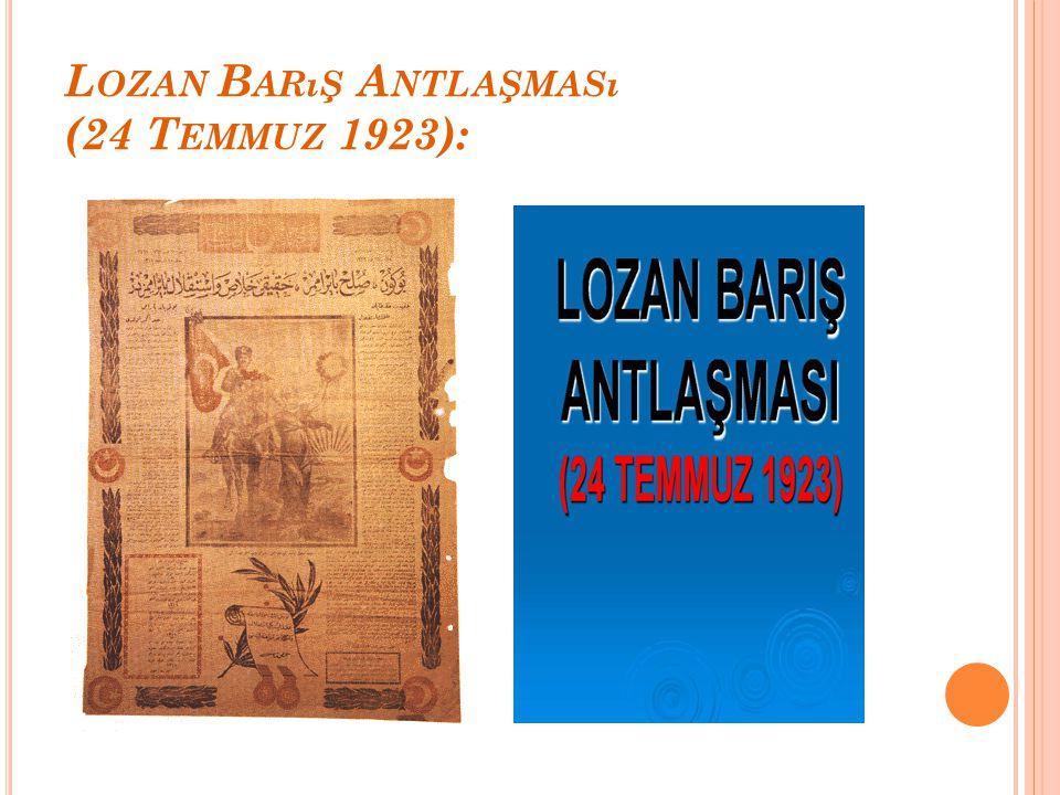Mudanya Ateşkes Antlaşması'ndan sonra, kesin barış görüşmeleri için savaşa karışmamış bir ülkenin şehri olan Lozan şehri(İsviçre),görüşmelerin yapılac