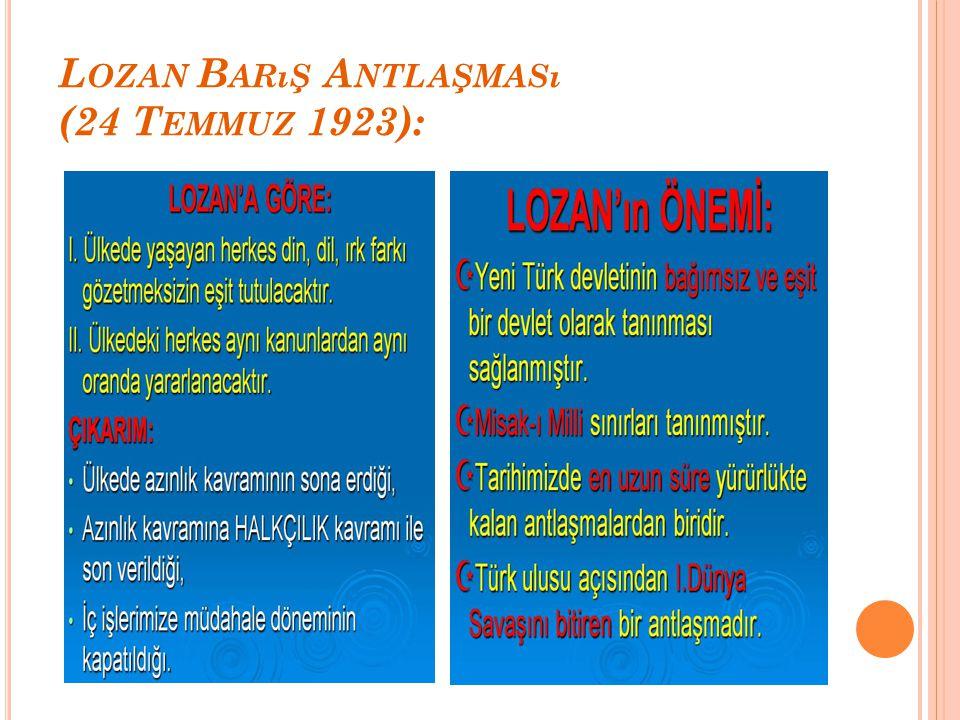 L OZAN B ARıŞ A NTLAŞMASı (24 T EMMUZ 1923):