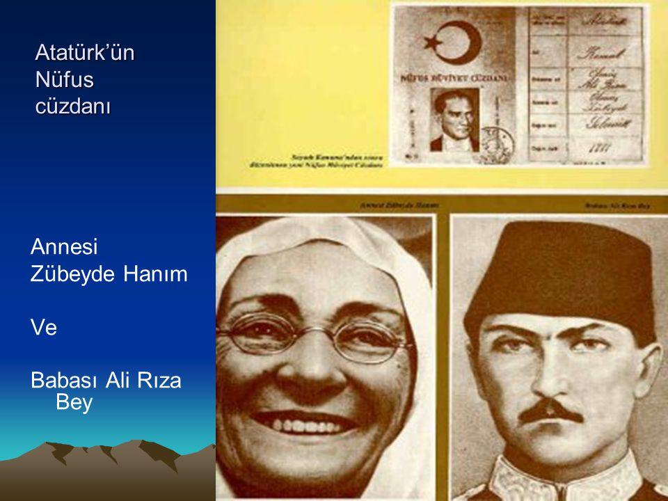 Atatürk'ün Nüfus cüzdanı Annesi Zübeyde Hanım Ve Babası Ali Rıza Bey