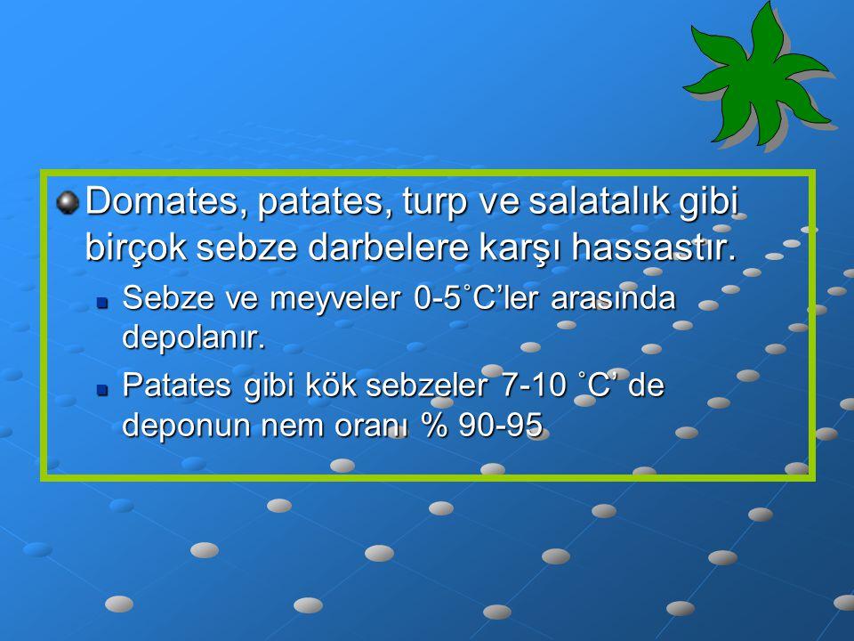 Domates, patates, turp ve salatalık gibi birçok sebze darbelere karşı hassastır. Sebze ve meyveler 0-5˚C'ler arasında depolanır. Sebze ve meyveler 0-5