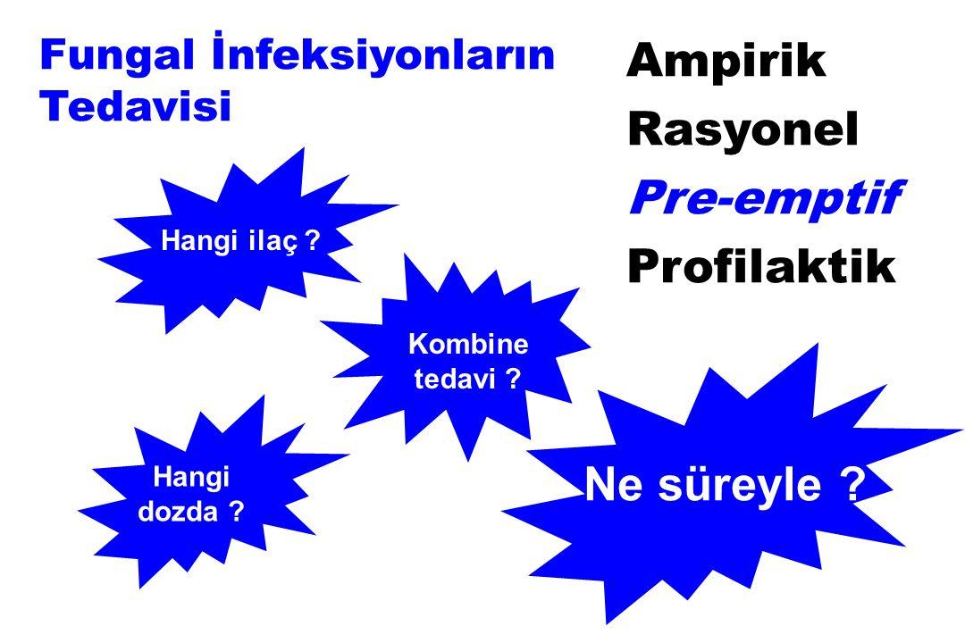 Hangi dozda ? Hangi ilaç ? Kombine tedavi ? Fungal İnfeksiyonların Tedavisi Ne süreyle ? Ampirik Rasyonel Pre-emptif Profilaktik