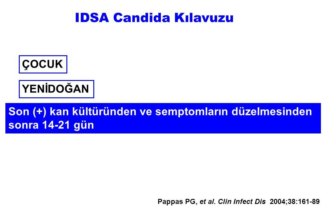 ÇOCUK Son (+) kan kültüründen ve semptomların düzelmesinden sonra 14-21 gün Pappas PG, et al. Clin Infect Dis 2004;38:161-89 YENİDOĞAN IDSA Candida Kı