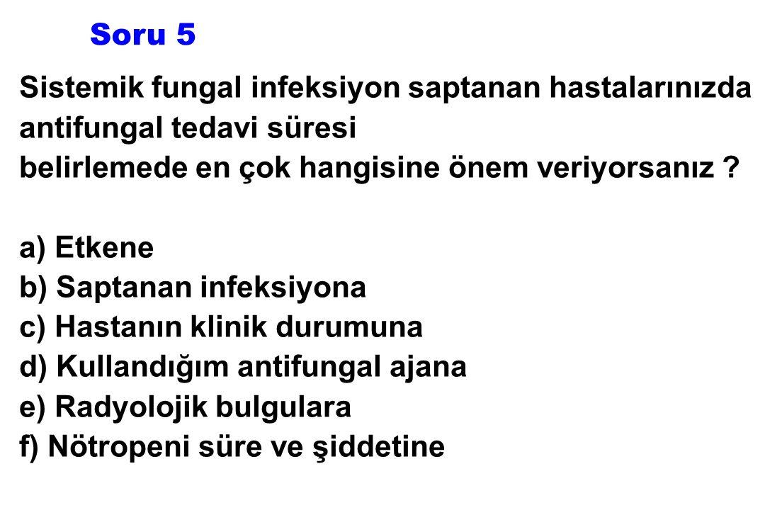 Sistemik fungal infeksiyon saptanan hastalarınızda antifungal tedavi süresi belirlemede en çok hangisine önem veriyorsanız ? a) Etkene b) Saptanan inf