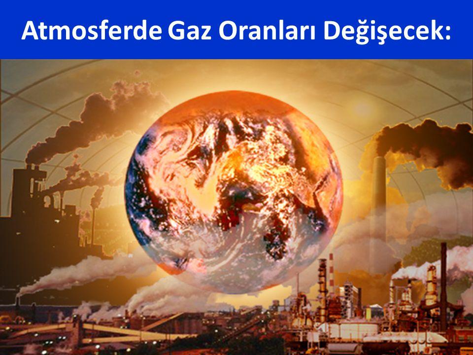 Atmosferde Gaz Oranları Değişecek: CO 2, CH 4, ve N 2 O gazları dünyanın aşırı soğumasını önler. Bu gazların oranlarında meydana gelecek değişiklikler