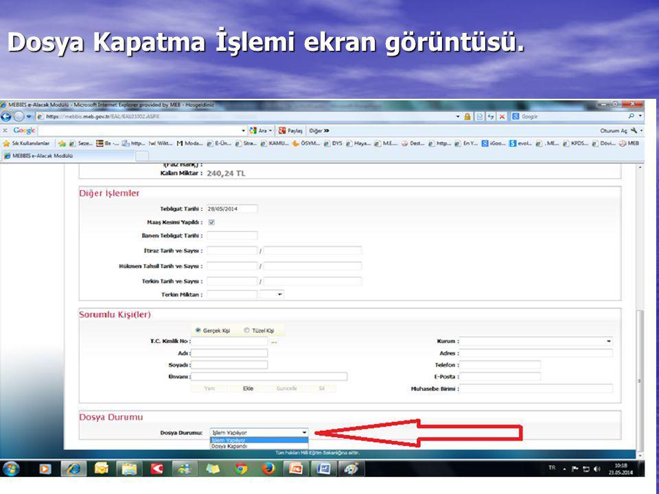 Dosya Kapatma İşlemi ekran görüntüsü.