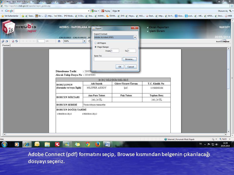Adobe Connect (pdf) formatını seçip, Browse kısmından belgenin çıkarılacağı dosyayı seçeriz.