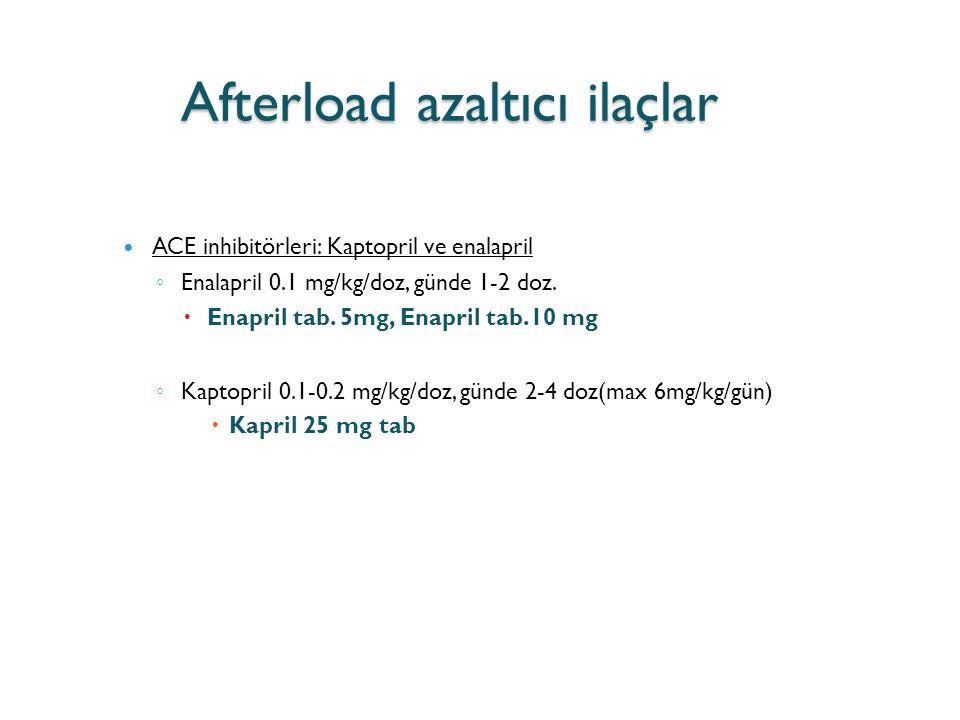 Afterload azaltıcı ilaçlar ACE inhibitörleri: Kaptopril ve enalapril ◦ Enalapril 0.1 mg/kg/doz, günde 1-2 doz.  Enapril tab. 5mg, Enapril tab.10 mg ◦