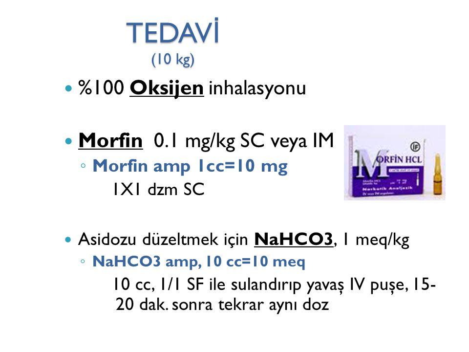 TEDAV İ (10 kg) %100 Oksijen inhalasyonu Morfin 0.1 mg/kg SC veya IM ◦ Morfin amp 1cc=10 mg 1X1 dzm SC Asidozu düzeltmek için NaHCO3, 1 meq/kg ◦ NaHCO