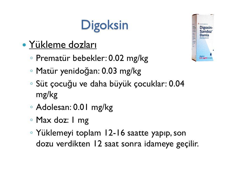Digoksin Yükleme dozları ◦ Prematür bebekler: 0.02 mg/kg ◦ Matür yenido ğ an: 0.03 mg/kg ◦ Süt çocu ğ u ve daha büyük çocuklar: 0.04 mg/kg ◦ Adolesan: