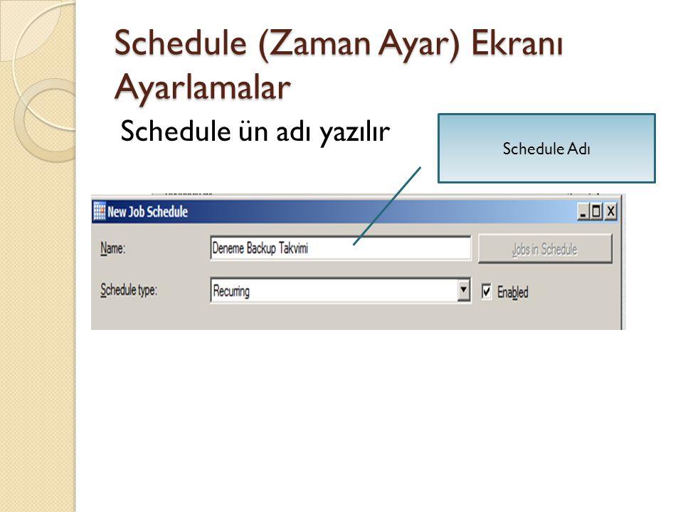 Schedule (Zaman Ayar) Ekranı Ayarlamalar Schedule ün adı yazılır Schedule Adı