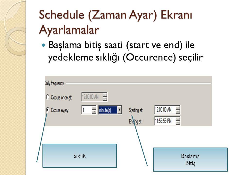 Schedule (Zaman Ayar) Ekranı Ayarlamalar Başlama bitiş saati (start ve end) ile yedekleme sıklı ğ ı (Occurence) seçilir Başlama Bitiş Sıklık