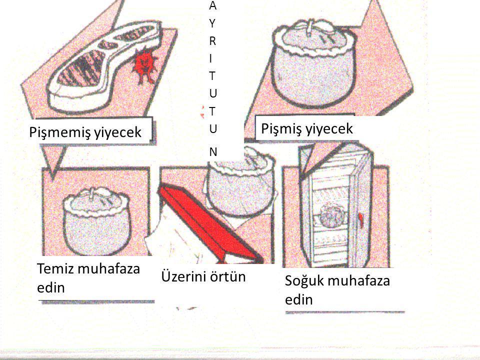 Temiz muhafaza edin Üzerini örtün Soğuk muhafaza edin Pişmiş yiyecek Pişmemiş yiyecek AYRITUTUNAYRITUTUN