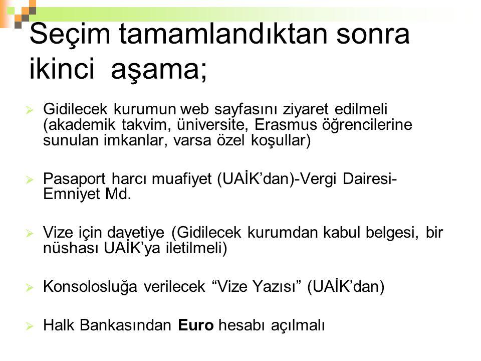 Seçim tamamlandıktan sonra ikinci aşama;  Gidilecek kurumun web sayfasını ziyaret edilmeli (akademik takvim, üniversite, Erasmus öğrencilerine sunula
