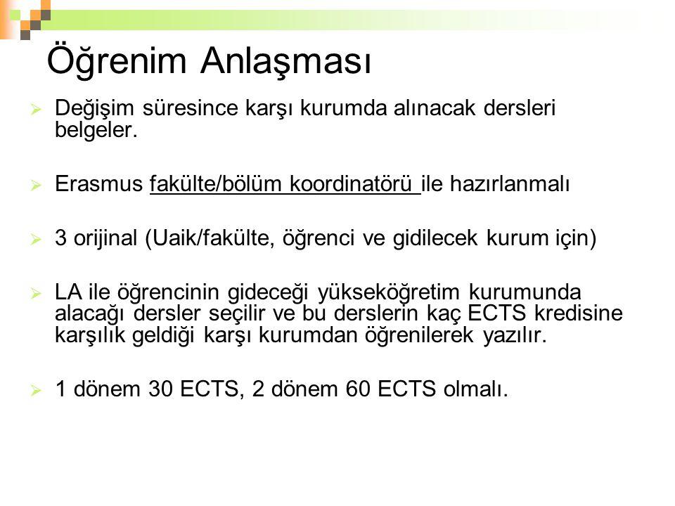Öğrenim Anlaşması  Değişim süresince karşı kurumda alınacak dersleri belgeler.  Erasmus fakülte/bölüm koordinatörü ile hazırlanmalı  3 orijinal (Ua