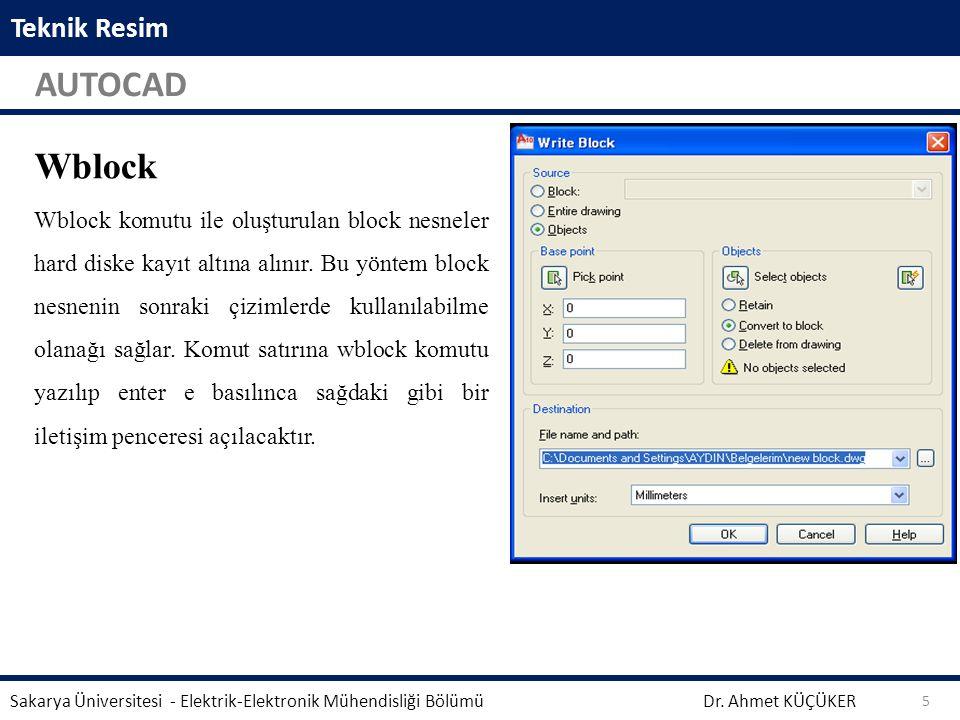 Teknik Resim AUTOCAD Dr. Ahmet KÜÇÜKER Sakarya Üniversitesi - Elektrik-Elektronik Mühendisliği Bölümü 5 Wblock Wblock komutu ile oluşturulan block nes