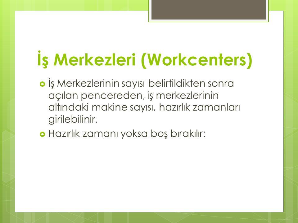 İş Merkezleri (Workcenters)  İş Merkezlerinin sayısı belirtildikten sonra açılan pencereden, iş merkezlerinin altındaki makine sayısı, hazırlık zamanları girilebilinir.