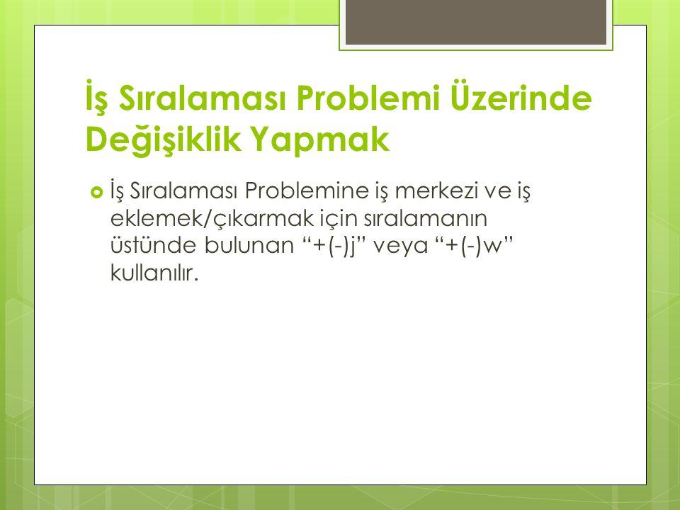İş Sıralaması Problemi Üzerinde Değişiklik Yapmak  İş Sıralaması Problemine iş merkezi ve iş eklemek/çıkarmak için sıralamanın üstünde bulunan +(-)j veya +(-)w kullanılır.