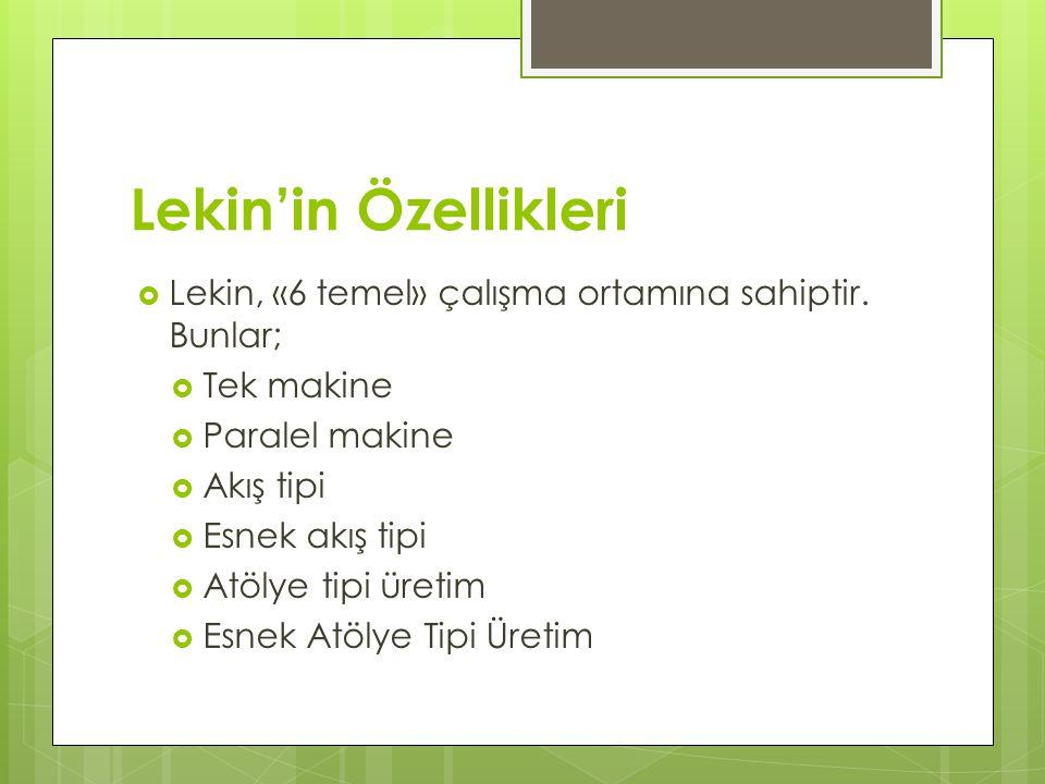 Lekin'in Özellikleri  Lekin, «6 temel» çalışma ortamına sahiptir. Bunlar;  Tek makine  Paralel makine  Akış tipi  Esnek akış tipi  Atölye tipi ü