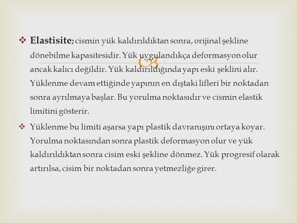   Elastisite ; cismin yük kaldırıldıktan sonra, orijinal şekline dönebilme kapasitesidir. Yük uygulandıkça deformasyon olur ancak kalıcı değildir. Y