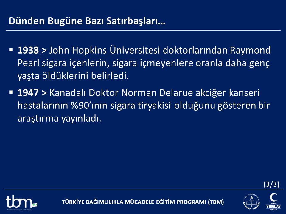 Dünden Bugüne Bazı Satırbaşları… TÜRKİYE BAĞIMLILIKLA MÜCADELE EĞİTİM PROGRAMI (TBM)  1938 > John Hopkins Üniversitesi doktorlarından Raymond Pearl s