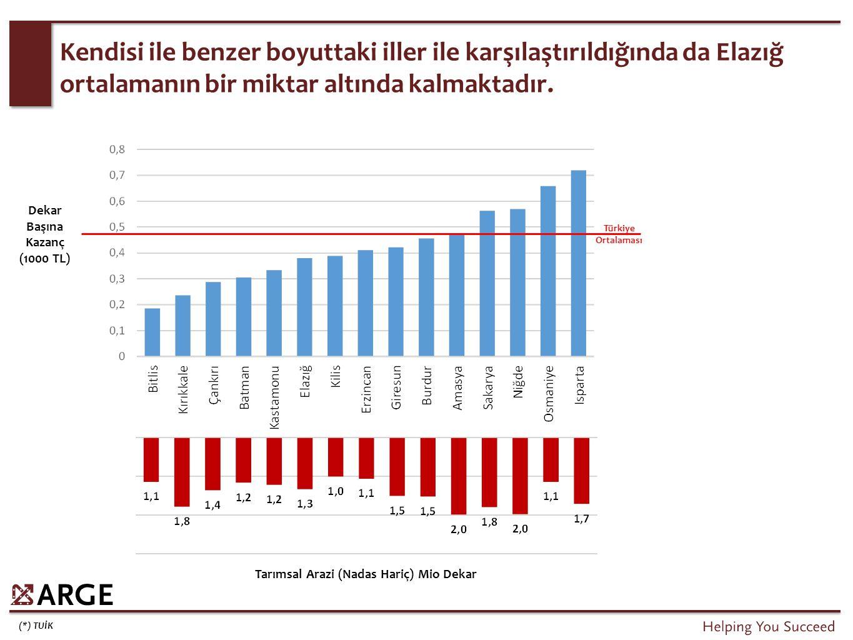 (*) TUİK Kendisi ile benzer boyuttaki iller ile karşılaştırıldığında da Elazığ ortalamanın bir miktar altında kalmaktadır. Türkiye Ortalaması Tarımsal