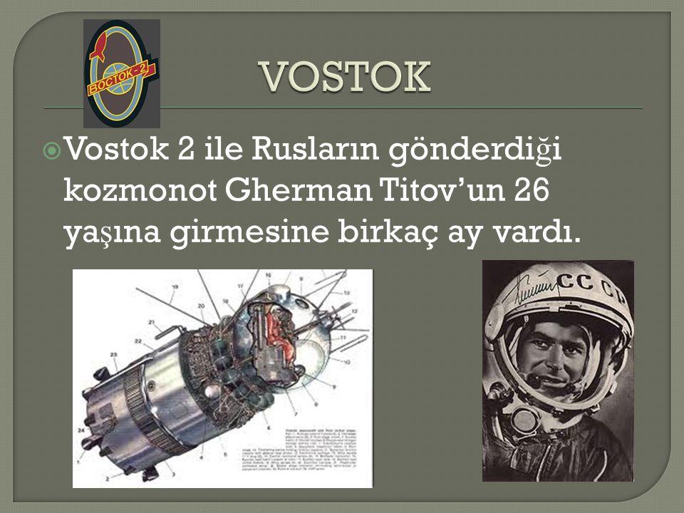  Vostok 2 ile Rusların gönderdi ğ i kozmonot Gherman Titov'un 26 ya ş ına girmesine birkaç ay vardı.