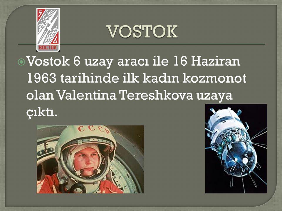  Vostok 6 uzay aracı ile 16 Haziran 1963 tarihinde ilk kadın kozmonot olan Valentina Tereshkova uzaya çıktı.