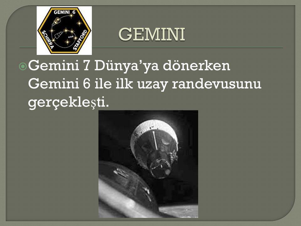  Gemini 7 Dünya'ya dönerken Gemini 6 ile ilk uzay randevusunu gerçekle ş ti.