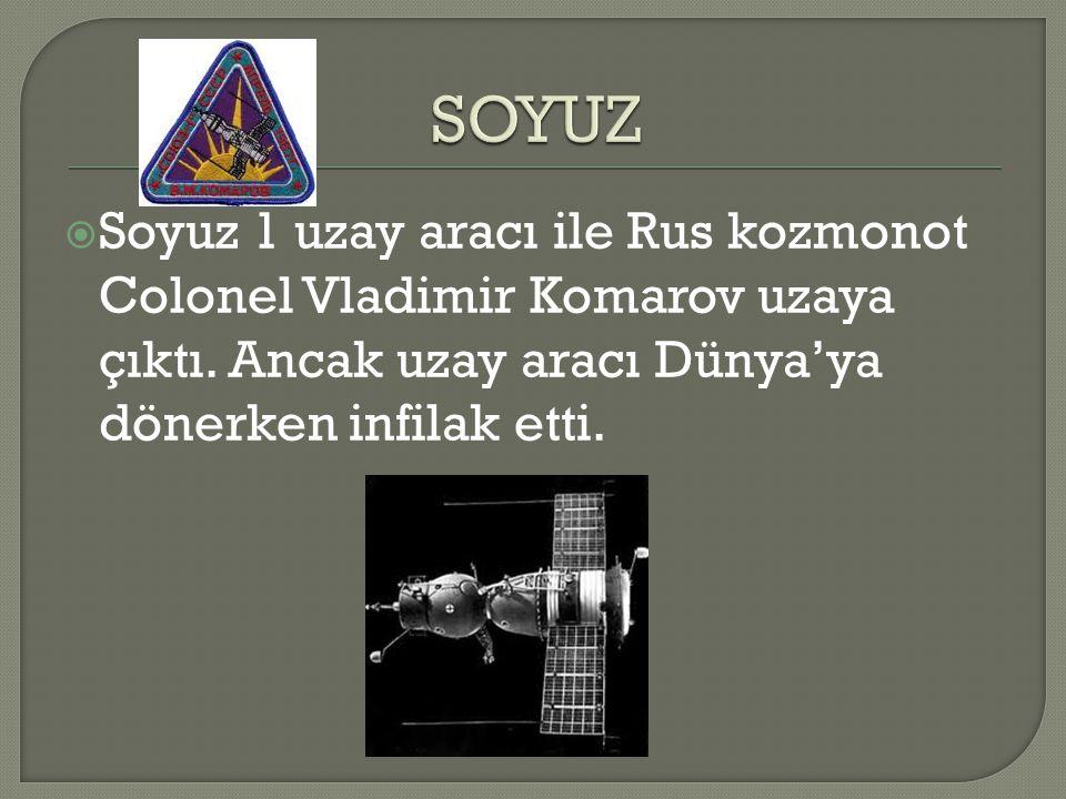  Soyuz 1 uzay aracı ile Rus kozmonot Colonel Vladimir Komarov uzaya çıktı. Ancak uzay aracı Dünya'ya dönerken infilak etti.