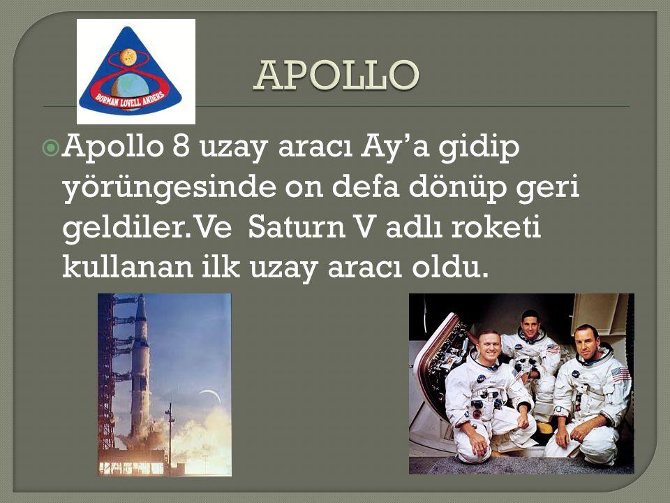  Apollo 8 uzay aracı Ay'a gidip yörüngesinde on defa dönüp geri geldiler.Ve Saturn V adlı roketi kullanan ilk uzay aracı oldu.