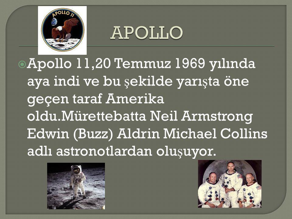 Apollo 11,20 Temmuz 1969 yılında aya indi ve bu ş ekilde yarı ş ta öne geçen taraf Amerika oldu.Mürettebatta Neil Armstrong Edwin (Buzz) Aldrin Mich