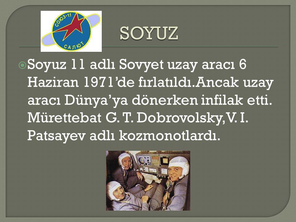  Soyuz 11 adlı Sovyet uzay aracı 6 Haziran 1971'de fırlatıldı.Ancak uzay aracı Dünya'ya dönerken infilak etti. Mürettebat G. T. Dobrovolsky,V. I. Pat