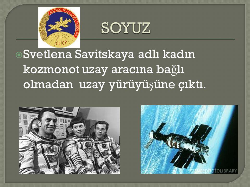  Svetlena Savitskaya adlı kadın kozmonot uzay aracına ba ğ lı olmadan uzay yürüyü ş üne çıktı.