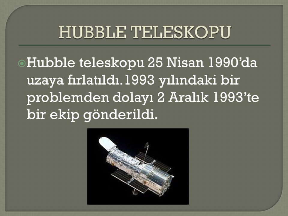  Hubble teleskopu 25 Nisan 1990'da uzaya fırlatıldı.1993 yılındaki bir problemden dolayı 2 Aralık 1993'te bir ekip gönderildi.