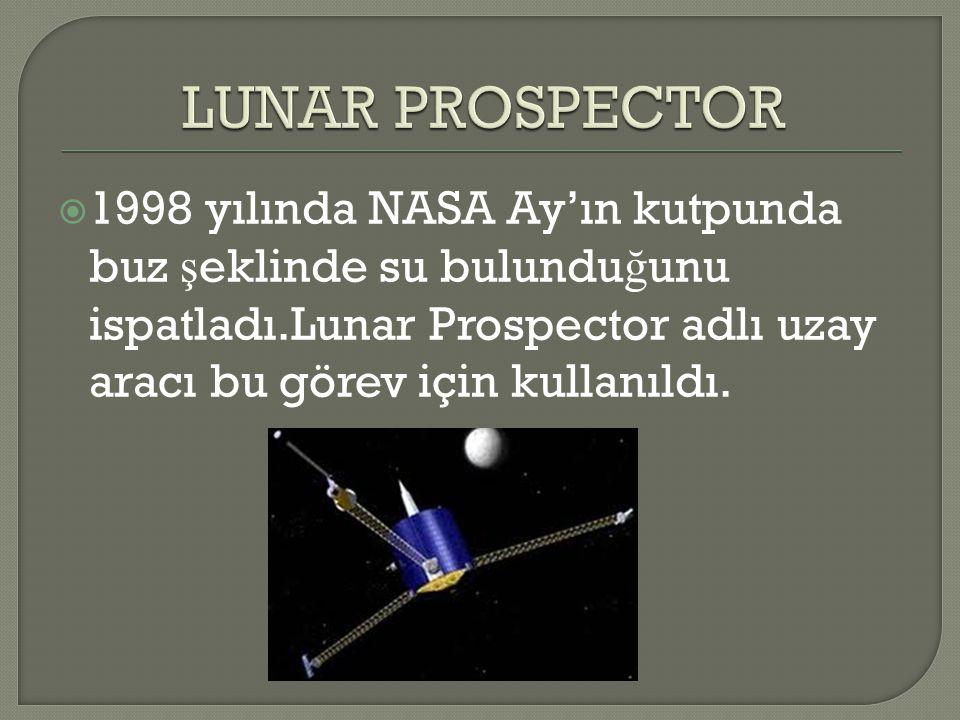  1998 yılında NASA Ay'ın kutpunda buz ş eklinde su bulundu ğ unu ispatladı.Lunar Prospector adlı uzay aracı bu görev için kullanıldı.