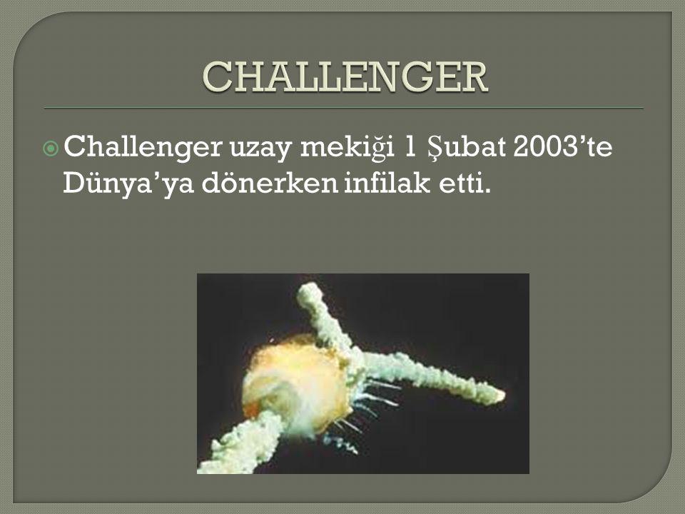  Challenger uzay meki ğ i 1 Ş ubat 2003'te Dünya'ya dönerken infilak etti.