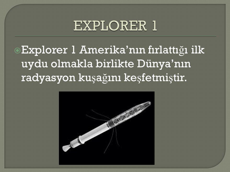  Explorer 1 Amerika'nın fırlattı ğ ı ilk uydu olmakla birlikte Dünya'nın radyasyon ku ş a ğ ını ke ş fetmi ş tir.