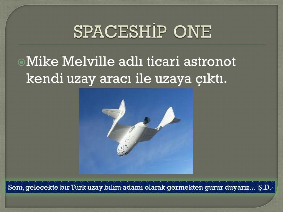  Mike Melville adlı ticari astronot kendi uzay aracı ile uzaya çıktı. Seni, gelecekte bir Türk uzay bilim adamı olarak görmekten gurur duyarız... Ş.D