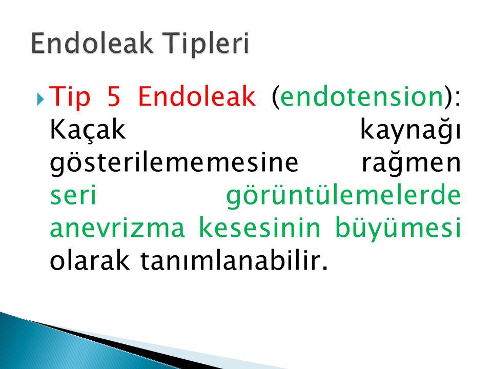  Tip 5 Endoleak (endotension): Kaçak kaynağı gösterilememesine rağmen seri görüntülemelerde anevrizma kesesinin büyümesi olarak tanımlanabilir.