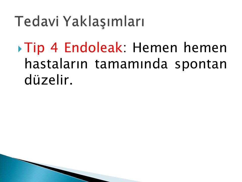  Tip 4 Endoleak: Hemen hemen hastaların tamamında spontan düzelir.