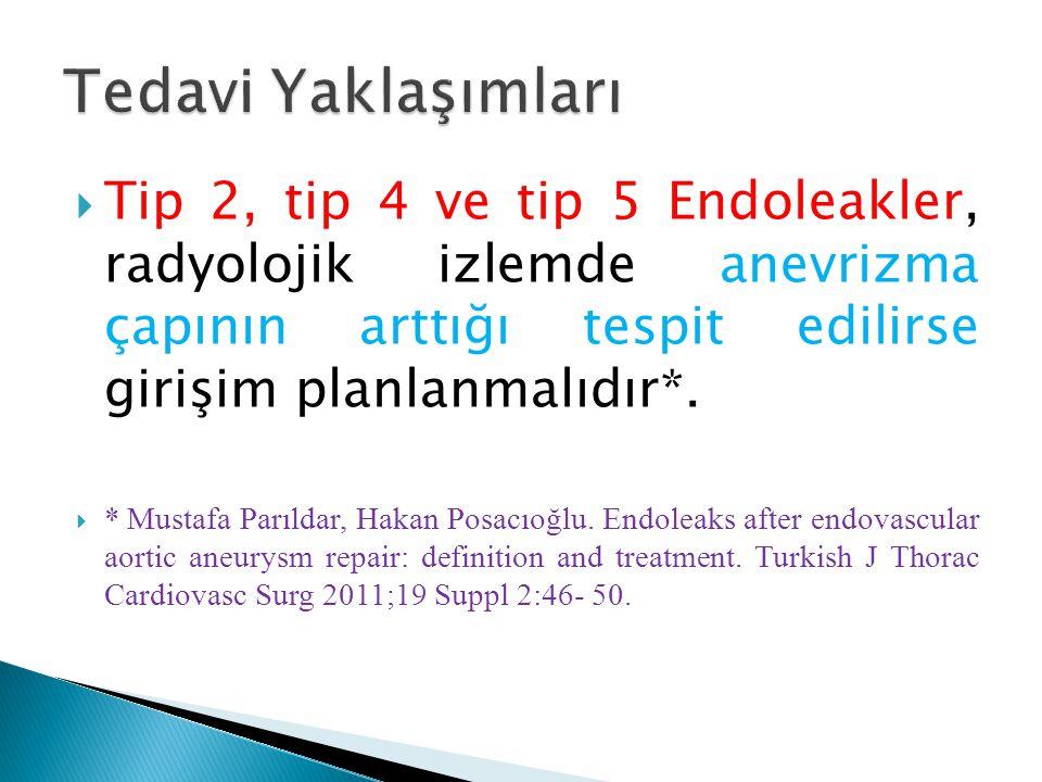  Tip 2, tip 4 ve tip 5 Endoleakler, radyolojik izlemde anevrizma çapının arttığı tespit edilirse girişim planlanmalıdır*.  * Mustafa Parıldar, Hakan
