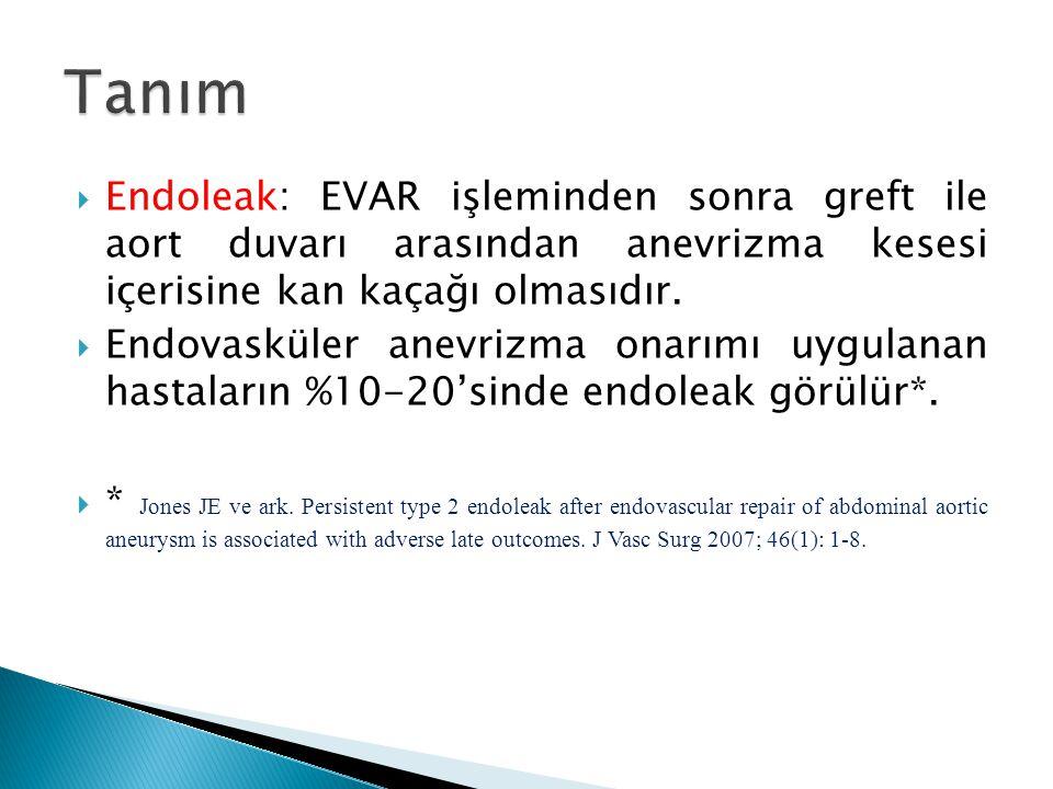  Endoleak: EVAR işleminden sonra greft ile aort duvarı arasından anevrizma kesesi içerisine kan kaçağı olmasıdır.  Endovasküler anevrizma onarımı uy