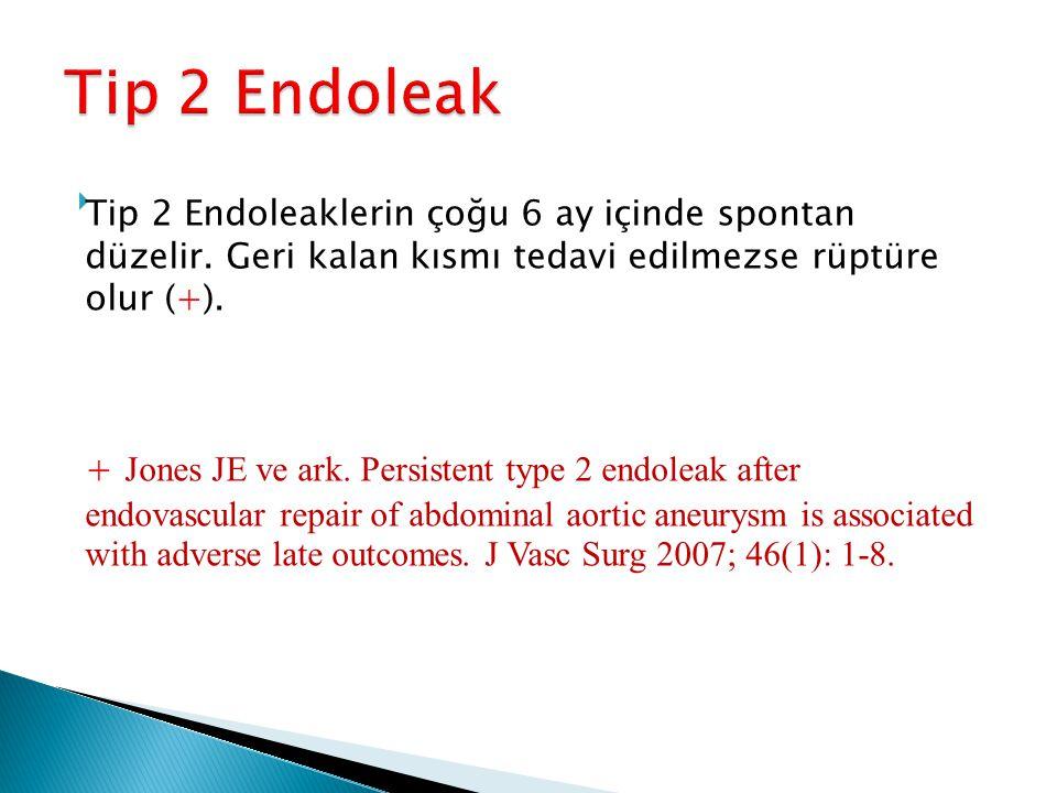  Tip 2 Endoleaklerin çoğu 6 ay içinde spontan düzelir. Geri kalan kısmı tedavi edilmezse rüptüre olur (+). + Jones JE ve ark. Persistent type 2 endol