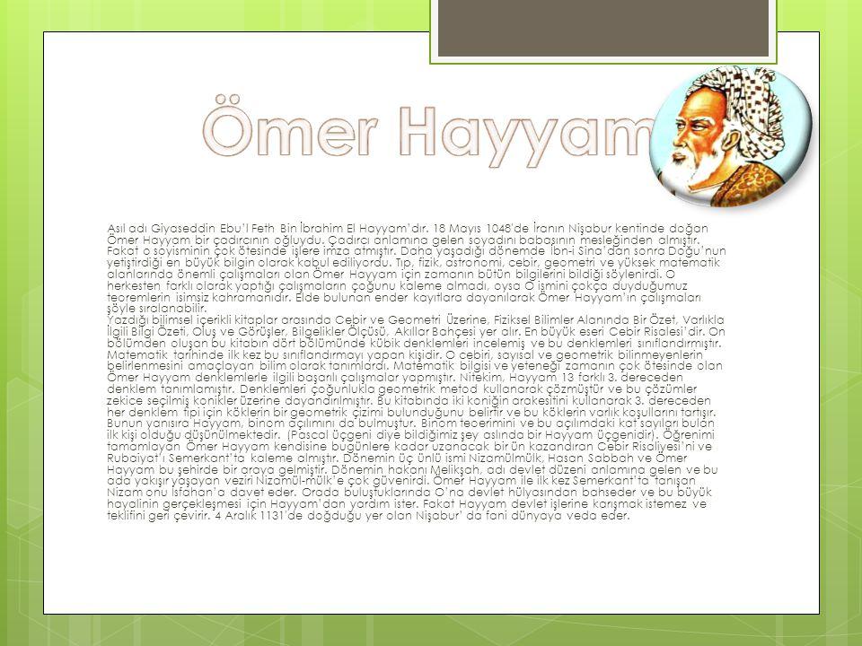 Asıl adı Giyaseddin Ebu'l Feth Bin İbrahim El Hayyam'dır. 18 Mayıs 1048′de İranın Nişabur kentinde doğan Ömer Hayyam bir çadırcının oğluydu. Çadırcı a