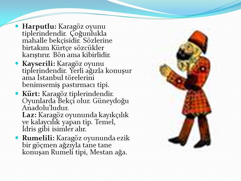 Harputlu: Karagöz oyunu tiplerindendir. Çoğunlukla mahalle bekçisidir. Sözlerine birtakım Kürtçe sözcükler karıştırır. Bön ama kibirlidir. Kayserili: