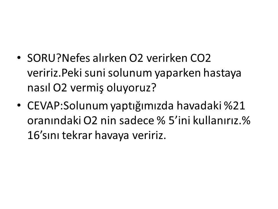 SORU?Nefes alırken O2 verirken CO2 veririz.Peki suni solunum yaparken hastaya nasıl O2 vermiş oluyoruz? CEVAP:Solunum yaptığımızda havadaki %21 oranın
