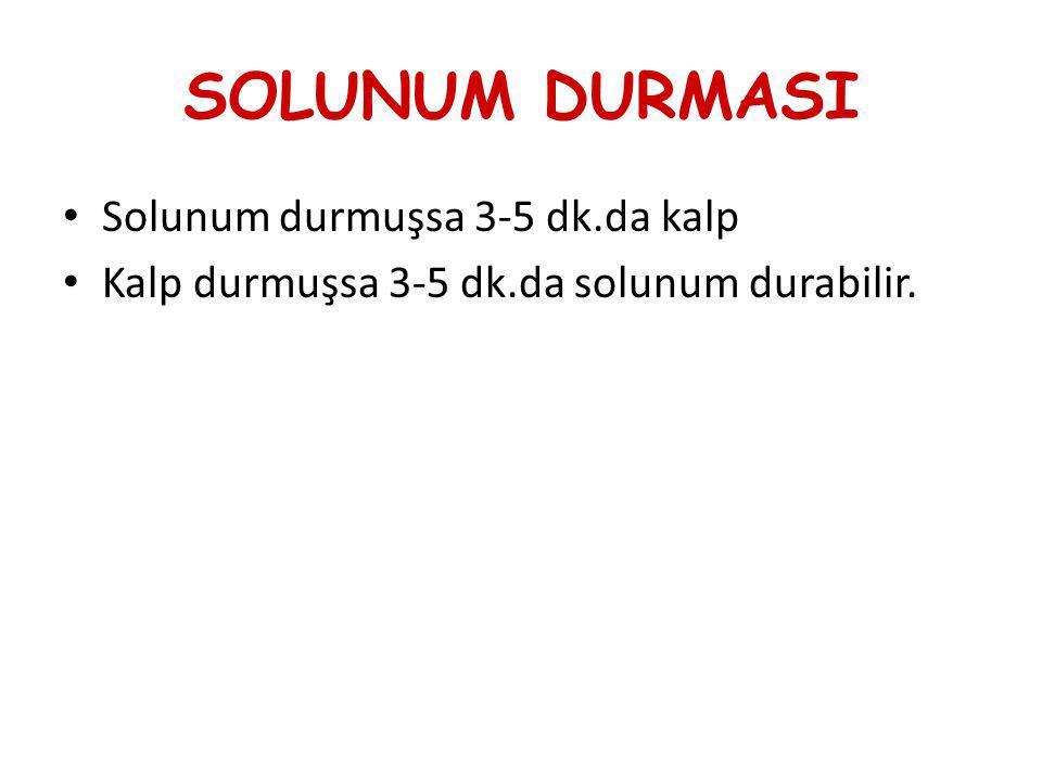 SOLUNUM DURMASI Solunum durmuşsa 3-5 dk.da kalp Kalp durmuşsa 3-5 dk.da solunum durabilir.