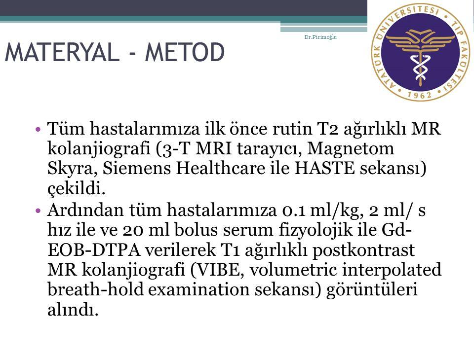 MATERYAL - METOD Tüm hastalarımıza ilk önce rutin T2 ağırlıklı MR kolanjiografi (3-T MRI tarayıcı, Magnetom Skyra, Siemens Healthcare ile HASTE sekans