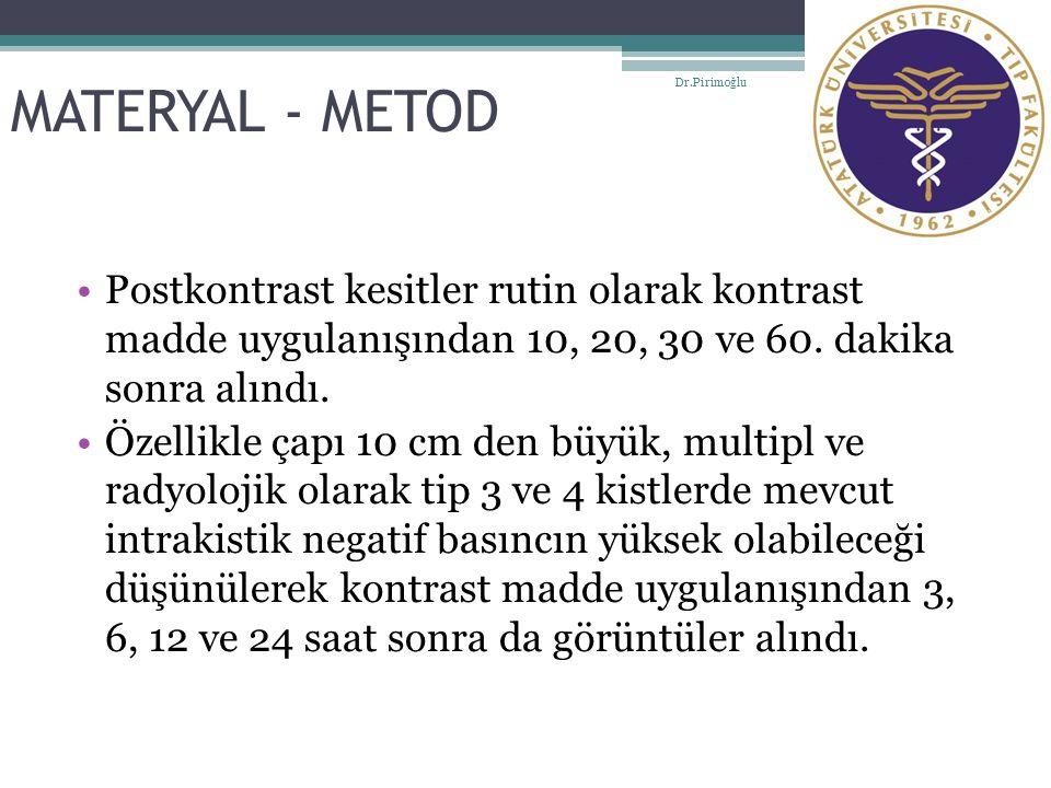 MATERYAL - METOD Postkontrast kesitler rutin olarak kontrast madde uygulanışından 10, 20, 30 ve 60. dakika sonra alındı. Özellikle çapı 10 cm den büyü