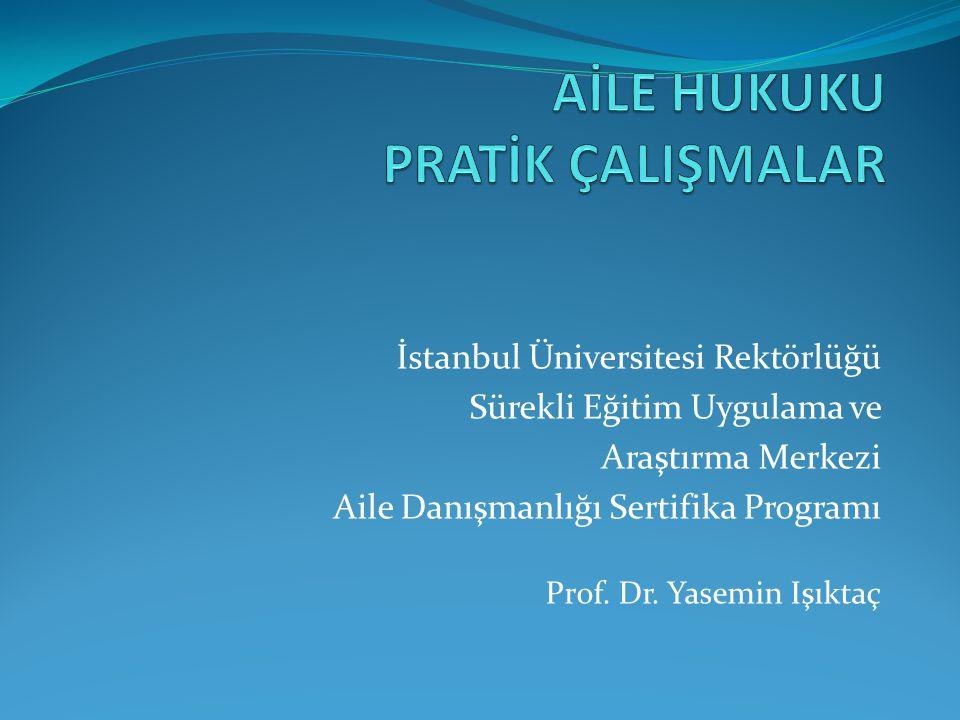 İstanbul Üniversitesi Rektörlüğü Sürekli Eğitim Uygulama ve Araştırma Merkezi Aile Danışmanlığı Sertifika Programı Prof. Dr. Yasemin Işıktaç